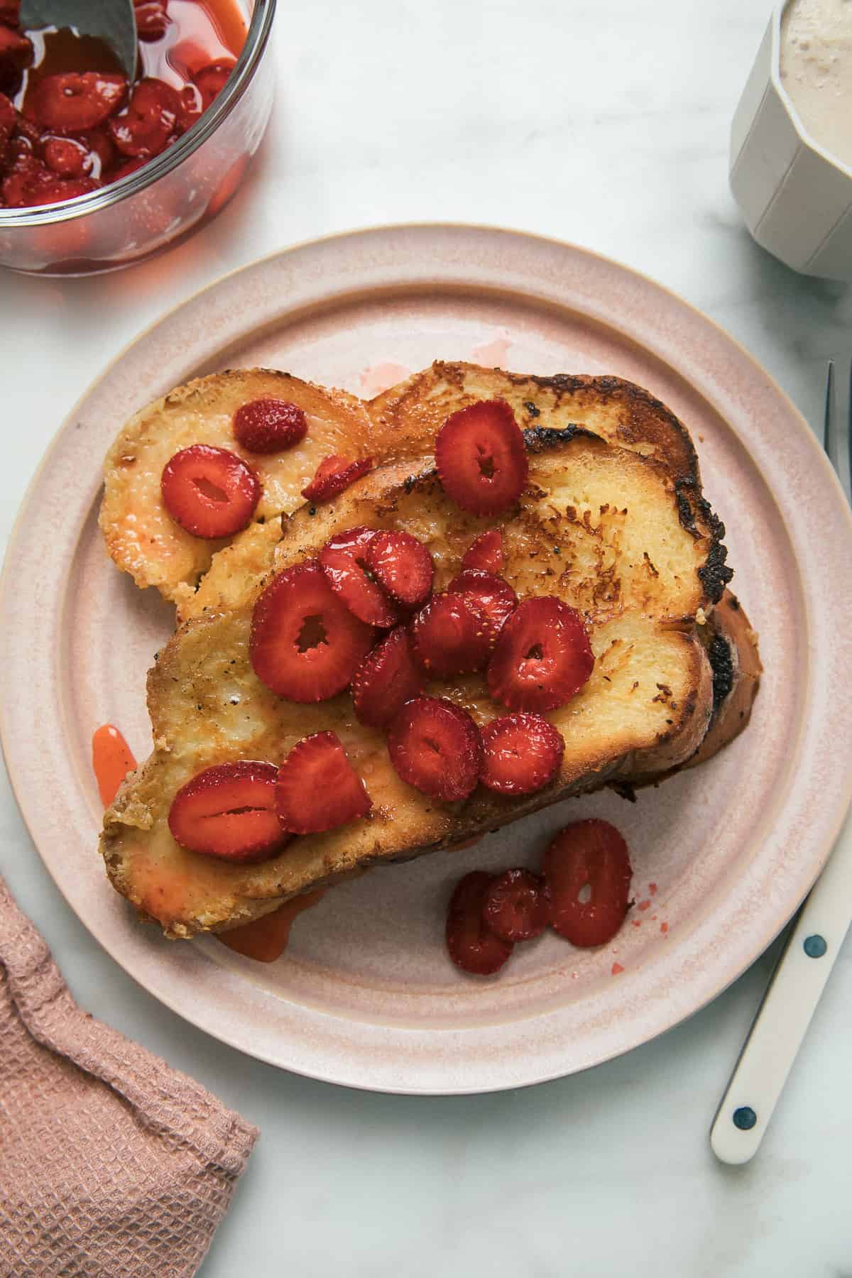 Custard French Toast with Macerated Strawberries